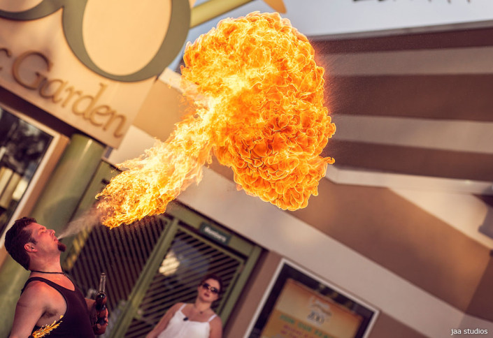 fire thrower at wedding