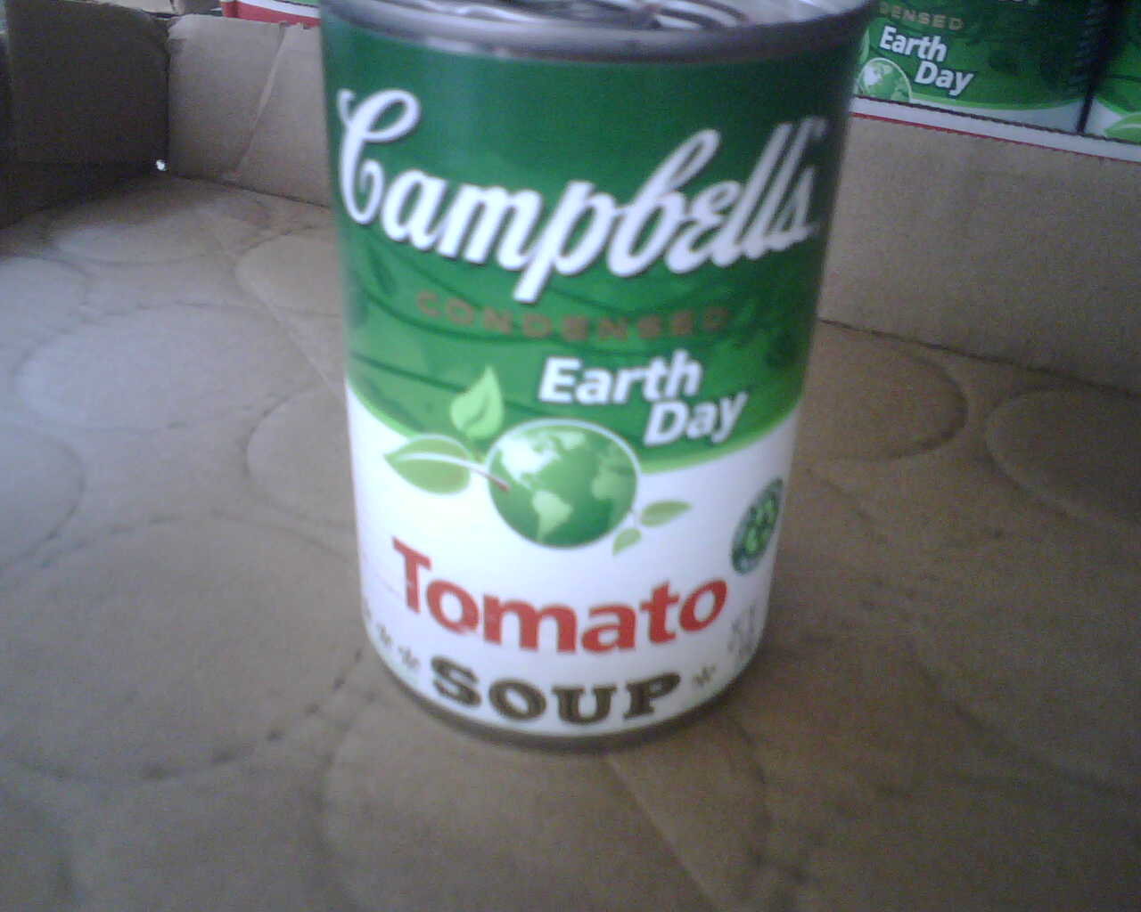 campbell soup green earth day can closeup