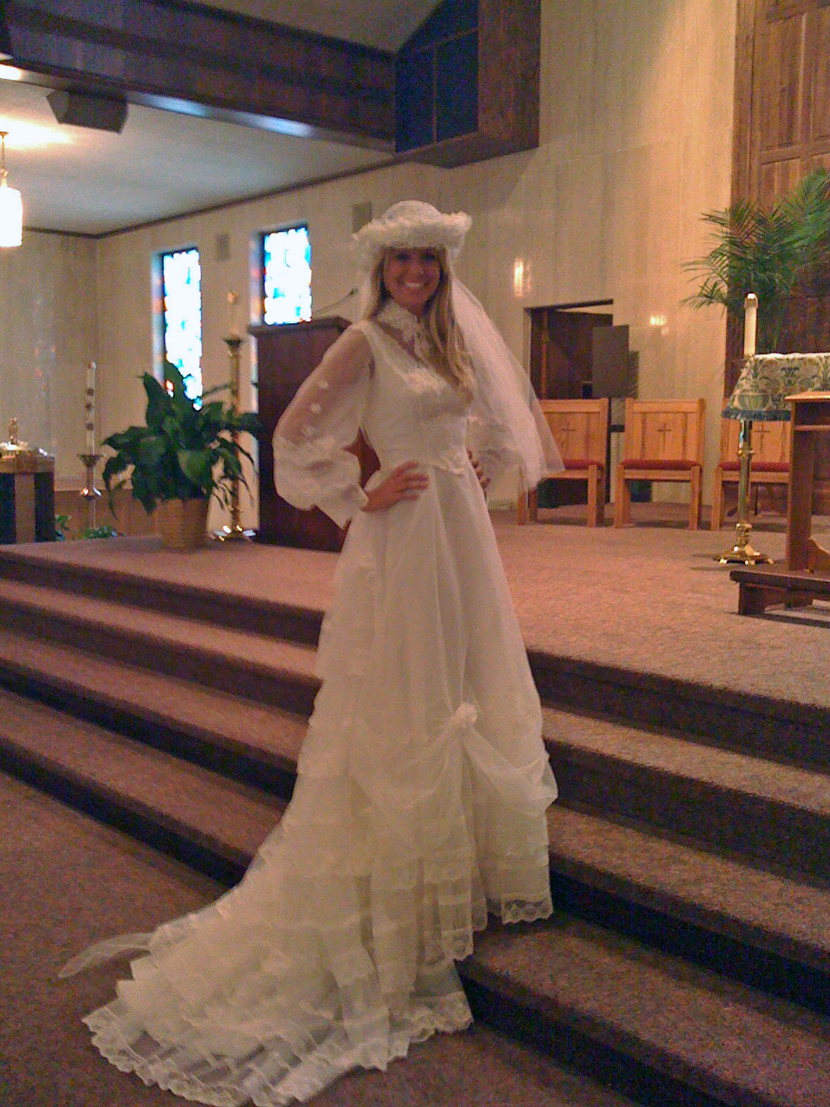 Jessica in her Mom's wedding dress