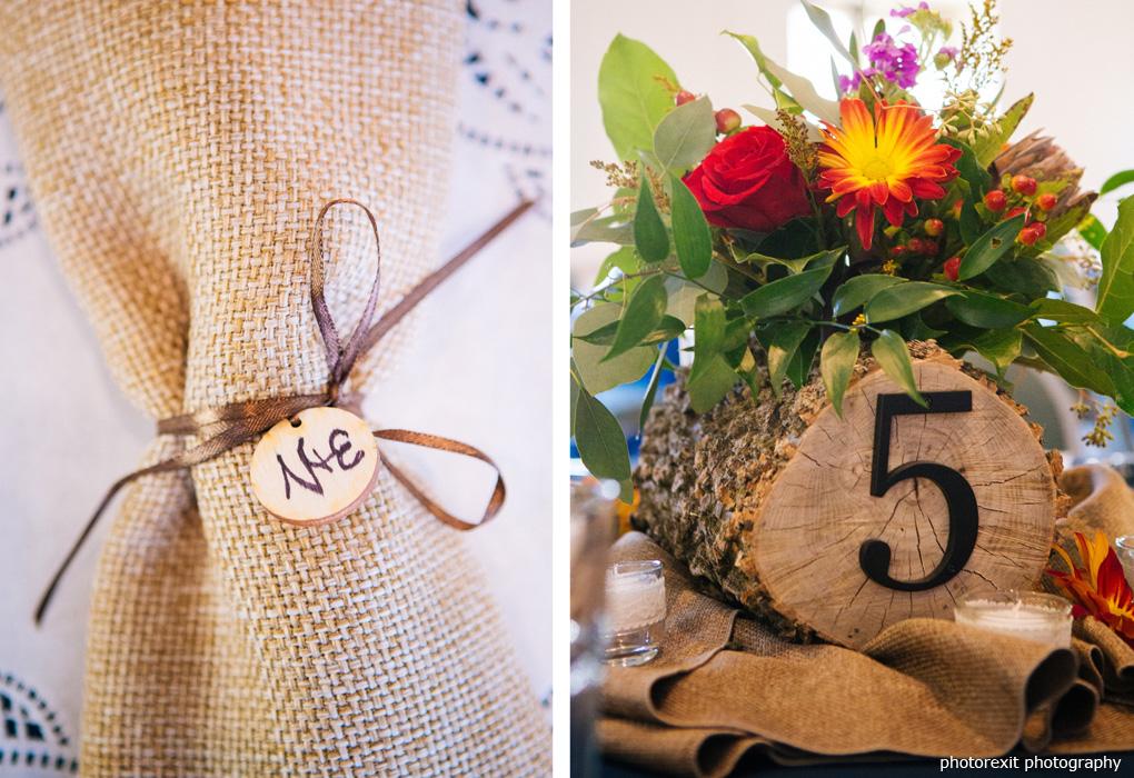logs in wedding centerpiece