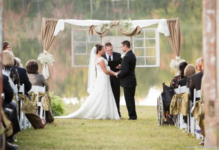 outdoor wedding ceremony altar