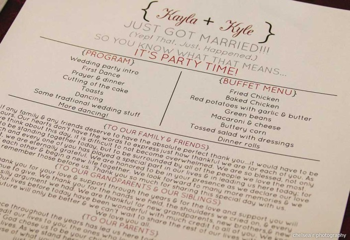 unique wedding program