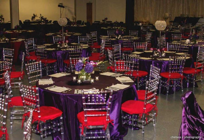 purple red wedding reception