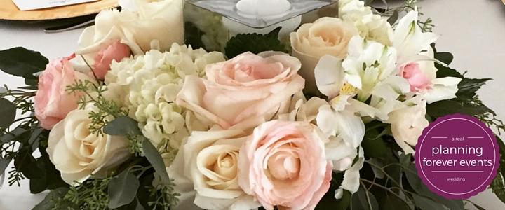 blush cream roses centerpiece