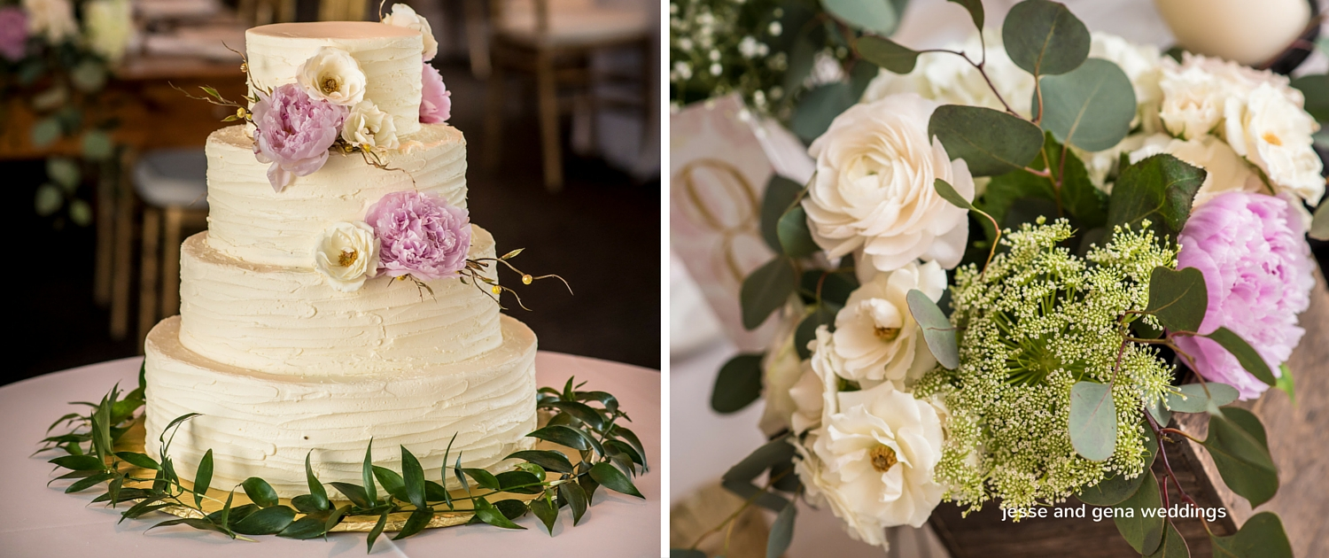 wedding cake and greenery