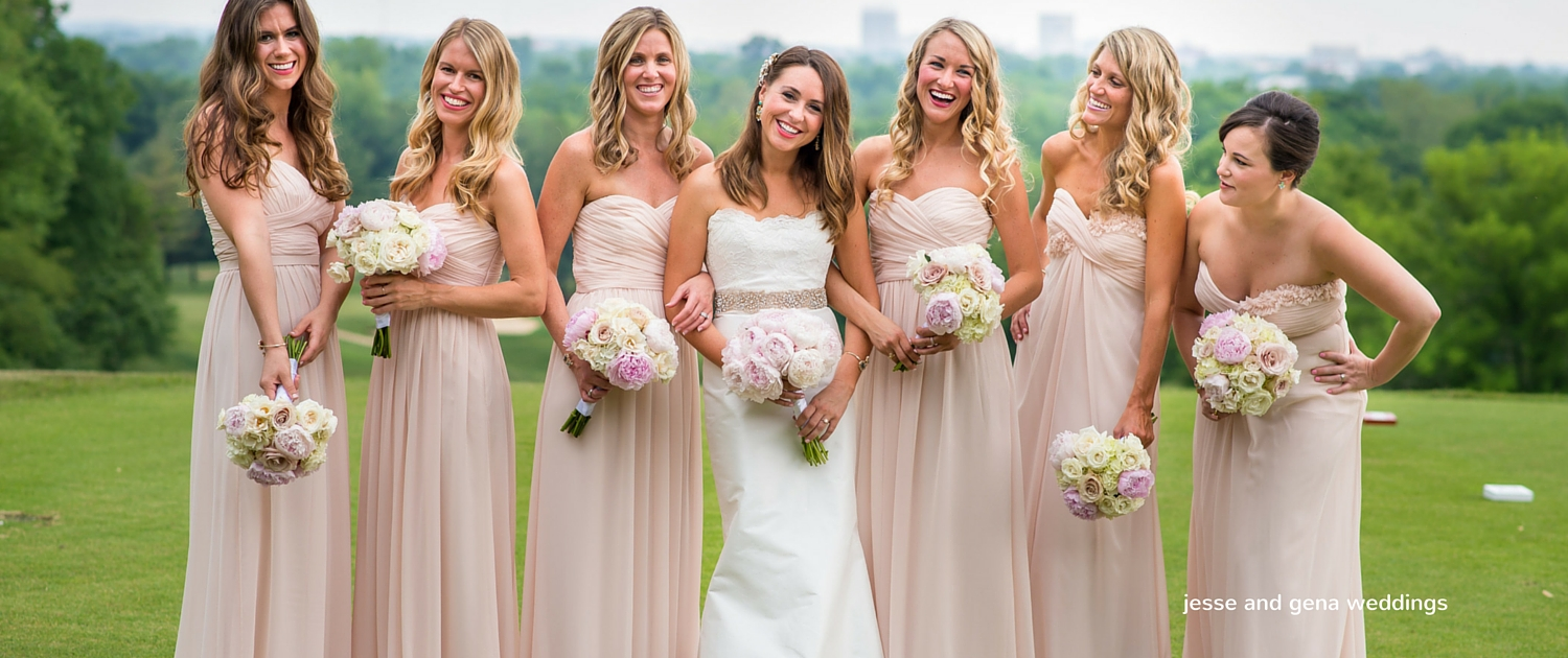 blush wedding party dresses
